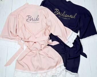 Bridesmaid Robe - Bridal Party Dressing Gowns - Bride Robes - Hen Party - Personalised Bridal Party Robes - Bridesmaid Gift - Lace Trim Robe