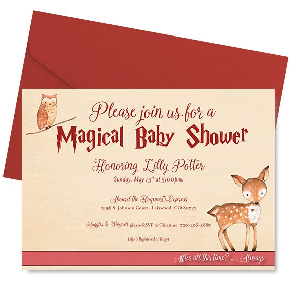 Harry Potter Baby Shower Invitation Harry Potter Shower