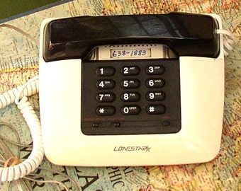 VINTAGE BUTTON TELEPHONE, ebony and ivory, desk, table, redial, retro phone, Lonestar