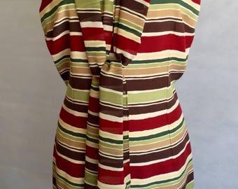 Silk, Striped Sheath Dress w/Scarf