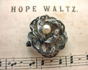 vintage sterling silver wire wrap  pin - rose, pearl