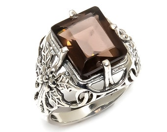 Natural Smoky Quartz Square  Gemstone Ring 925 Sterling Silver R696