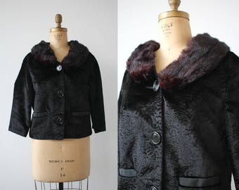 1960s vintage faux fur jacket / 60s black cropped fur jacket / styled by winter jacket / 1960s rabbit fur collar jacket / size Large