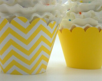 YELLOW CHEVRON and YELLOW Cupcake Wrappers... Fully Assembled...set of 12...You Are My Sunshine, Baby Shower, Bridal Shower, Elephant Party