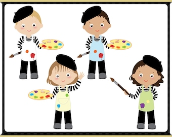 Little Painter Digital Clip Art - Easel - Kids Character - Instant Downloads