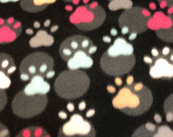 RaToob, Critter Paws Pink Light Blue White Gray and Peach on Black with Gray Polka Dots
