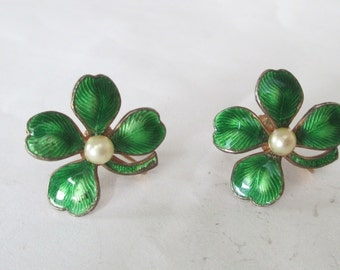 Enamel Shamrock Four Leaf Clover Earrings Vintage Faux Pearl St Patricks Day