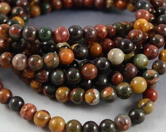 "Jasper Bead, Red Creek Jasper, Round Bead, 4mm Bead, Small Jasper Beads - 15 1/2"" Strand"