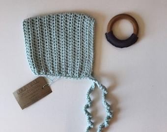 The Augie Bonnet // Glacier // Size 3-6 Months // Ready to Ship