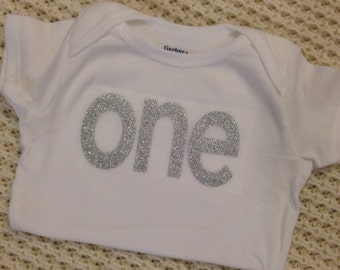 """Silver Glitter Iron-On vinyl """"one"""" lettering for yearly, monthly, or birthday onesie- Lettering ONLY (First Class Shipping Rate)"""