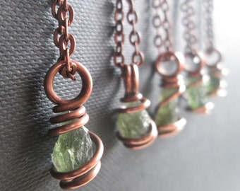 Moldavite Pendant / Moldavite Necklace / Moldavite Jewelry / Pure Copper / Tektite / Synergy 12 Crystal / Talisman Necklace / TRANSFORMATION