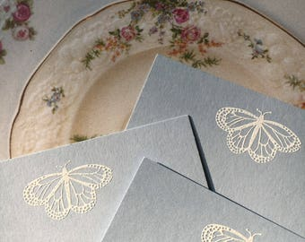 Embossed Note Cards, Flat Note Cards, Stationery Set, Butterfly