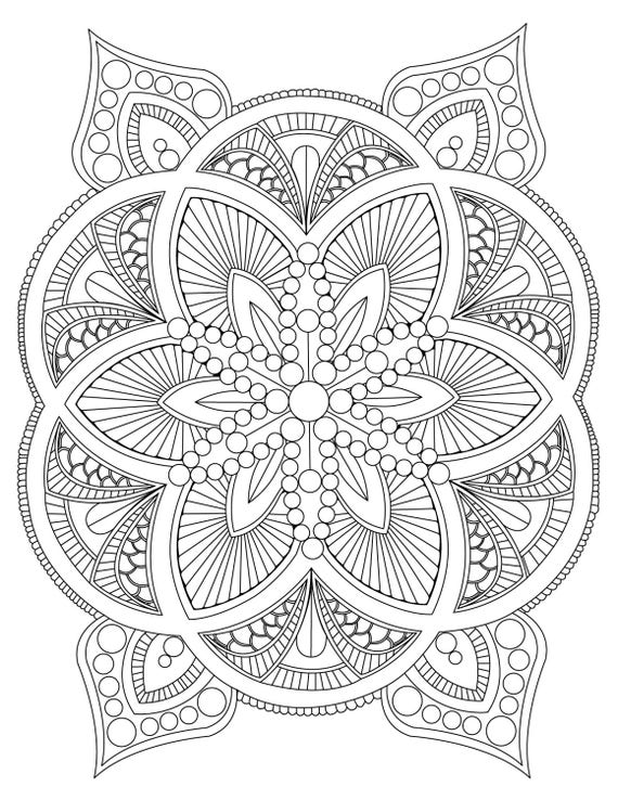 adult coloring pages download | Abstract Mandala Coloring Page for Adults Digital Download