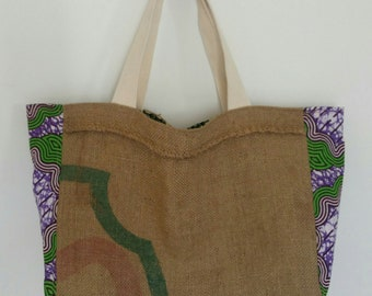 Tote bag, African fabric and burlap