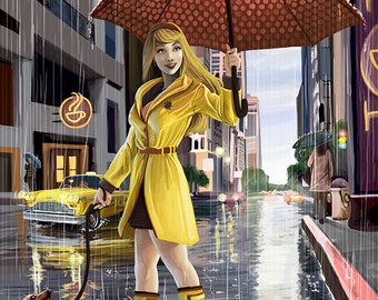 Rain Girl Pinup - Vancouver, BC (Art Prints available in multiple sizes)