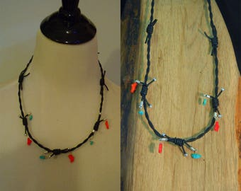 Necklace N93 Barbwire leather, Turquoise, Coral