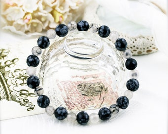 Wellness with clarity bracelet (unisex) -  snowflake obsidian and dragon vein