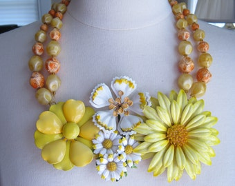 Statement Necklace, Vintage Enamel Flowers, Upcycled Vintage Brooch, Flower Power, Lemon Yellow, Orange, Marigold, OOAK - Mellow Yellow