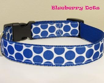 Blueberry Dots Dog Collar