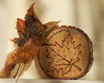 Autumn Fall Maple Leaf Wood Slice Pyrography Ornament