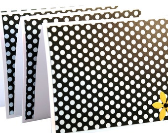 Thank you notes, greeting cards, black and white stationery, polka dot cards, handmade cards