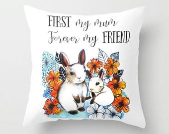 Mother's Day Pillow, First my Mum Forever My Friend, Gift for Mum, Mother's Day Gift, Heartwarming Home Decor Cushion Stuffing With Insert