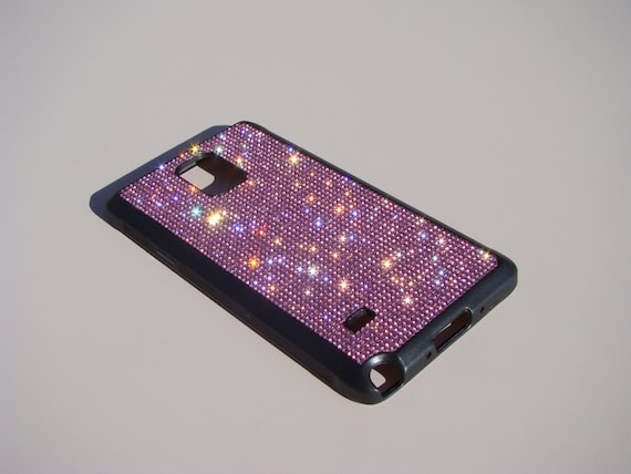 Galaxy Note 4 Pink Diamond Rhinestone Crystals on Black Rubber Case. Velvet/Silk Pouch Bag Included, Genuine Rangsee Crystal Cases.
