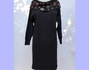 vintage 90s jeweled collar off-the-shoulder sweater dress