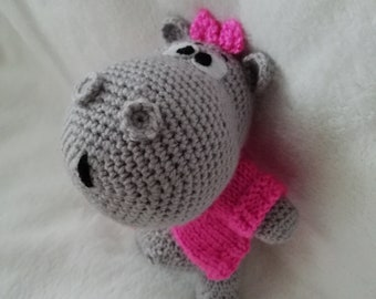 knitted toy handmade toys toys for children ren toys made of yarn soft toy Hippo gray Hippo Hippo in a jacket crochet
