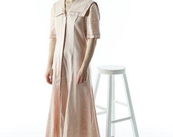 Light Pink Peter Pan Collar Dress / Pleated Linen Dress / Midi Summer Dress