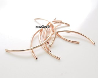 2 pcs, Round curved tube, 14cm long, Rose gold color, CF01925