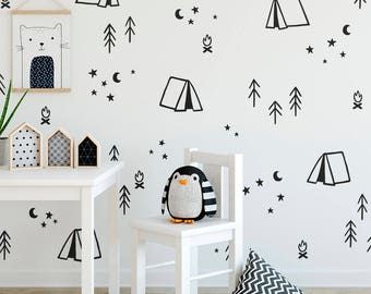 Camping Wall Decals - Nursery Decor, Gift for Mom, Wall Decor, Tree Decals, Kids Room Decals, Wall Art, Vinyl Wall Decal