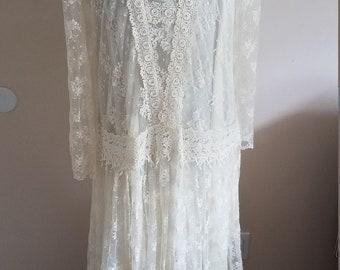 GORGEOUS Vintage Floral  Ivory Lace Drop Waist 1920s Style Wedding Dress 2 Piece
