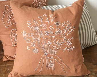 Floral Bouquet Hand Embroidered Cushion