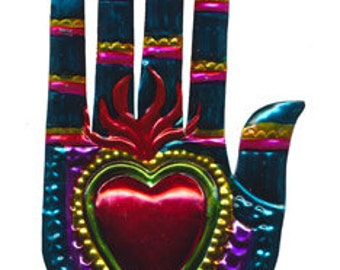 Tin Ornament of Heart-In-Hand - Rainbow Colors!