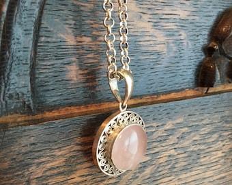 Sterling Silver Rose Quartz Pendant Necklace