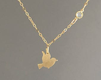 Flying Sparrow with Swarovski Crystal Gold Necklace