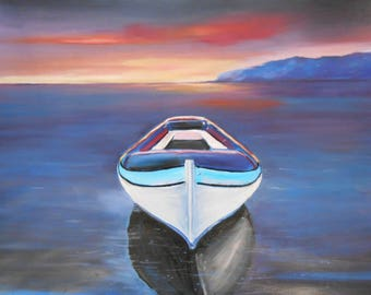 Boat On sea -Oil on paper-Oil Realistic on paper-Oil Painting-Sea oil painting-Super realistic painting-Sea  blue painting-Original painting