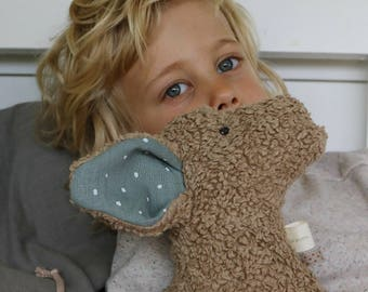 organic cuddly toy with costumizable ears, organic stuffed animal