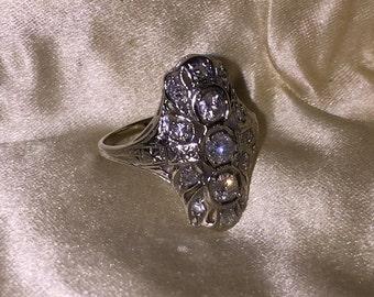 Antique Estate Diamond Ring 17 diamonds Ring at Gothic Rose Antiques