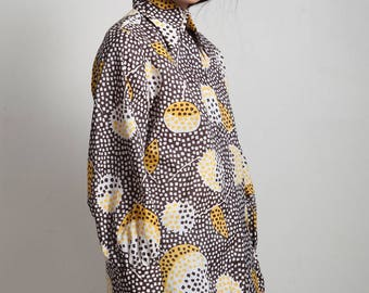 vintage 70s op art abstract blouse top floral dot print button down brown yellow LARGE L