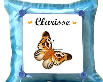 Blue butterfly personalized with name cushion