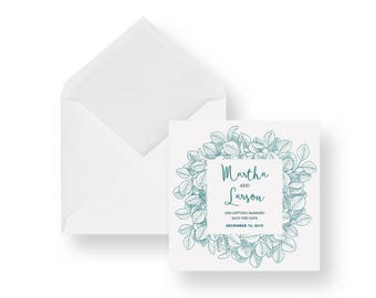 Printed eucalyptus save the date - wedding save the date