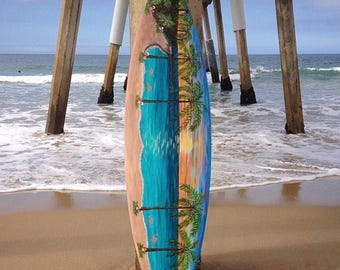 Handpainted Sunset Surfboard - custom painting, ocean art, surfing