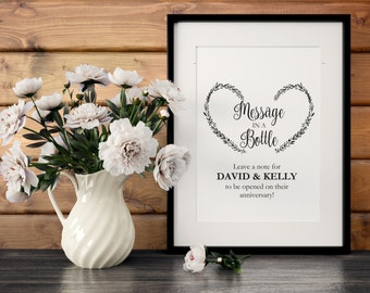 Message In a Bottle Sign, Message in a bottle Sign Template, Notes for the newlyweds, One year anniversary wedding sign printable template