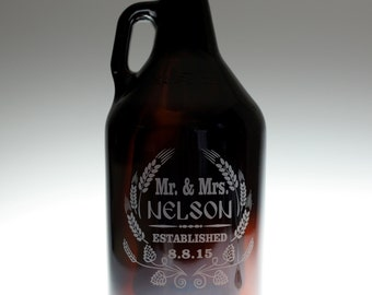 Wedding gift of  beer growler  Modern hop and wheat art with newlywed couples info.Homebrew Gift,Custom Beer,bride to groom