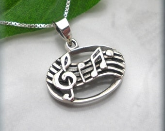 Music Necklace, Music Note, Musical Necklace, Sterling Silver, Music Pendant, Music Bar, Treble Clef Jewlery, Music Lover Gift