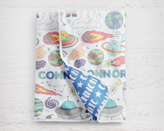 """The """"Connor Space"""" Personalized Baby Name Blanket Outerspace Astronaut"""