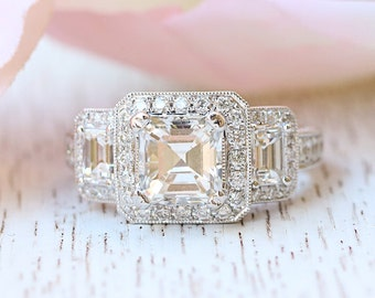 Guinevere Asscher Cut Engagement Ring