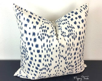 Les Touches Navy and White/Ivory Animal Print Pillow Cover-  Brunschwig & Fils - Choose 1 SIDED OR 2 SIDED  - Designer
